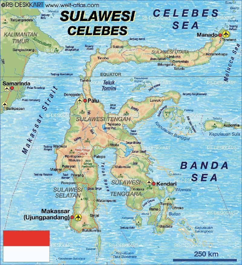 Sulawesi map 800х850
